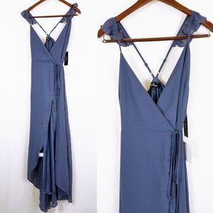 Here's To Us Slate Blue High-Low Wrap Dress NWT